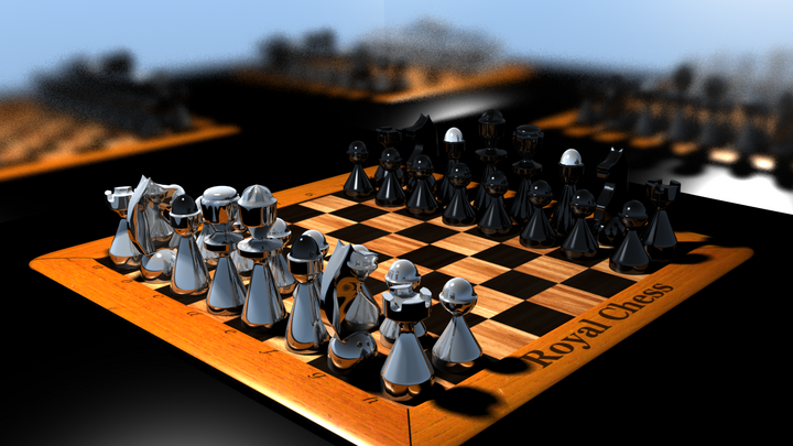 Královské šachy v Blenderu, doba renderu 19:58. Textura šachovnice 2048x2048 px, vzadu jsou dvě matná zrcadla.